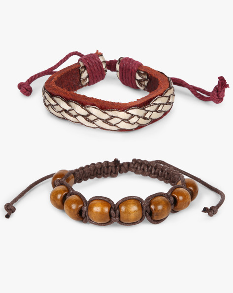 Set Of 2 Bracelets By ALPHA MAN ( Maroon )