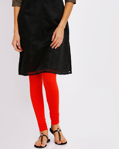 Churidar Leggings With Elasticated Waistband By Go Colors ( Red )