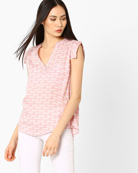 Printed Top With Curved Hem By CHM ( White )
