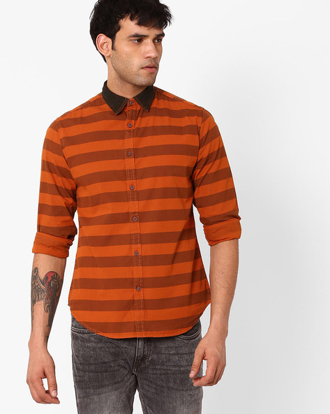Slim Fit Striped Shirt By Blue Saint ( Orange )