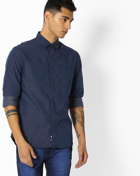 Ditsy Print Slim Fit Shirt By NETPLAY ( Navy )