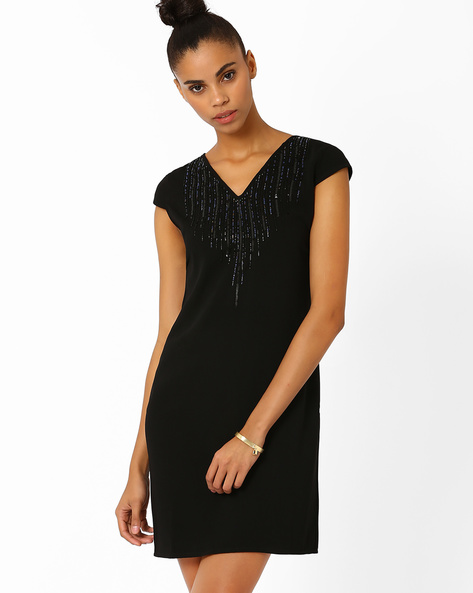 Shift Dress With Sequinned Yoke By AJIO ( Black )