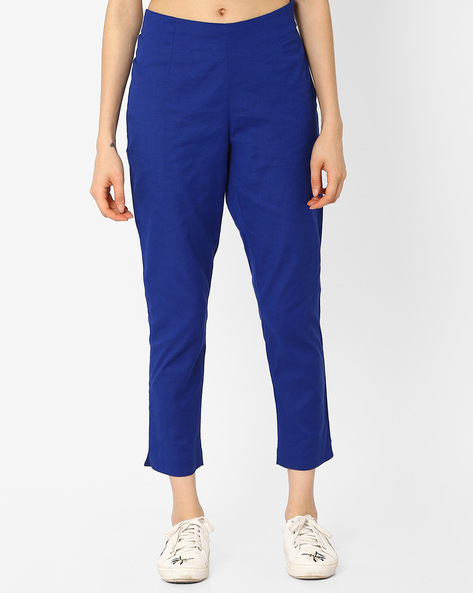 Straight Fit Cotton Trousers By AURELIA ( Blue )