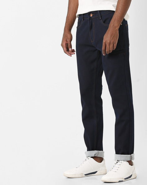 Tapered Fit Stretch Denims By AJIO ( Blue )