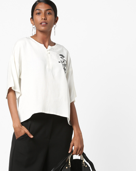 Embroidered Boxy Top With Drop-Shoulder Sleeves By AJIO ( Offwhite )
