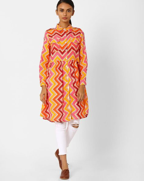 Chevron Print Kurta With Collar By Jiyaa ( Red )