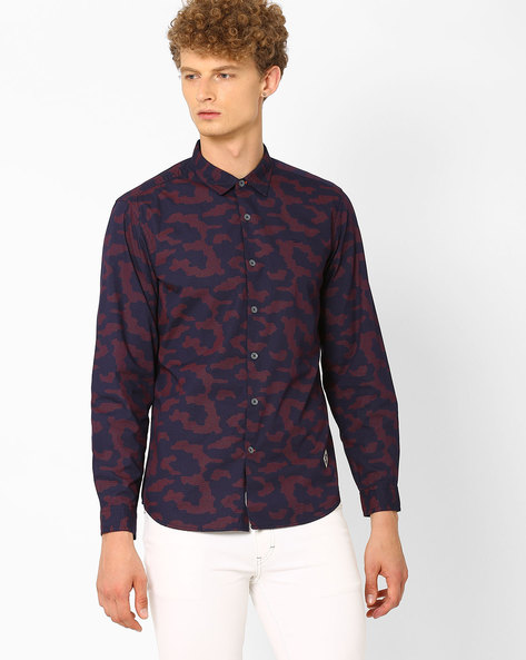 Printed Slim Fit Shirt By Lee ( Red )