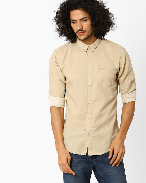 Slim Fit Casual Shirt By BASICS ( Beige )