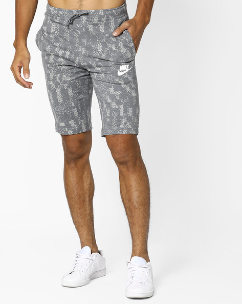Printed Shorts With Drawstring Waist By NIKE ( Grey )