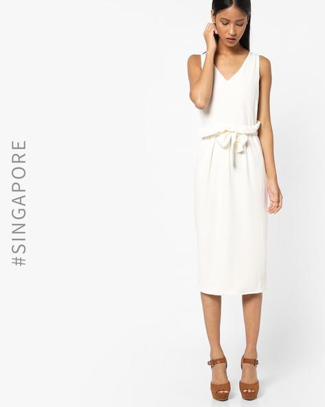 Sleeveless Midi Dress With Slit Hem By MDS ( White )
