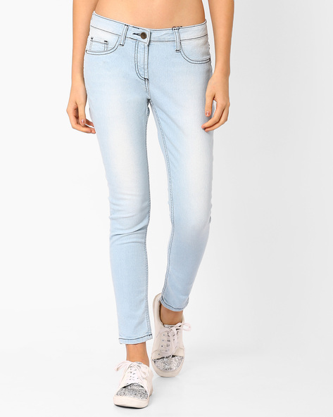 Mid-Rise Skinny Jeans By AJIO ( Lightblue )