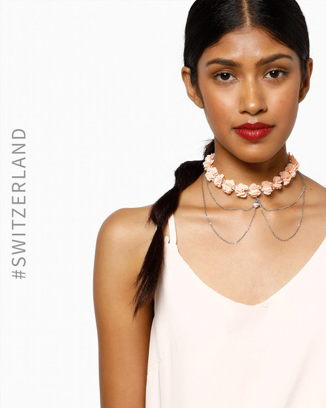 Floral Multi-Stranded Choker Necklace By TALLY WEiJL ( Pink )