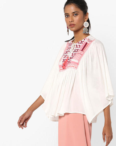 Embroidered Top With Tasselled Tie-Up By Rena Love ( Offwhite )