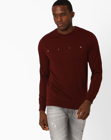 Crew-Neck Core Regular Fit Sweatshirt By AJIO ( Wine )