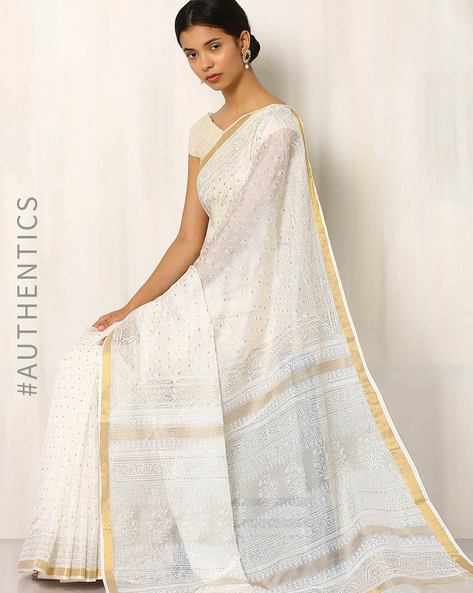 Bagru Print Kota Silk Cotton Saree By Indie Picks ( Offwhite )