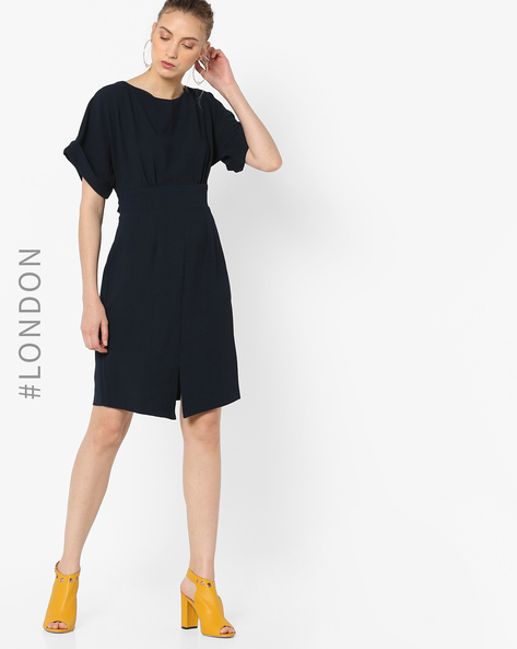Sheath Dress With Front Slit By Closet London ( Navyblue )
