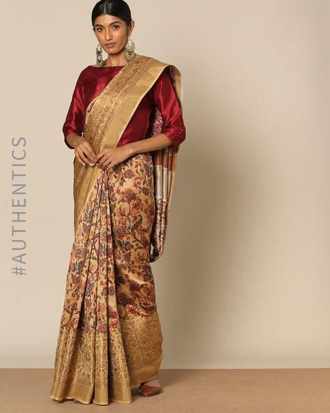 Banarasi Floral Print Pure Silk Saree By Rudrakaashe-MSU ( Beige )