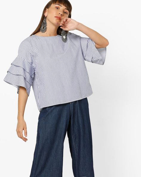 Striped Top With Layered Frill Sleeves By Only ( Indigo )