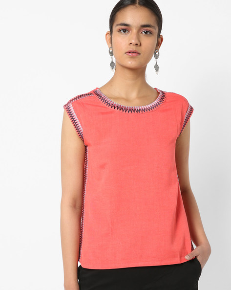 Embroidered Sleeveless Boxy Top By AJIO ( Coral )