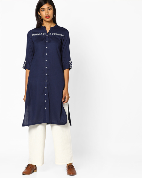 Collared Kurta With Roll-Up Tabs By AJIO ( Navyblue )