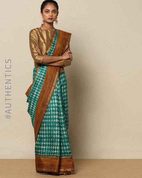 Printed Pure Silk Tussar Brush Saree By Rudrakaashe-MSU ( Green )