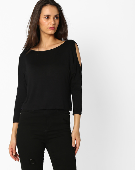 Crop Top With Cold-Shoulder Sleeves By And ( Black )