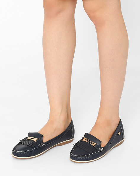 Tasselled Loafers With Metal Accents By Carlton London ( Darkblue )