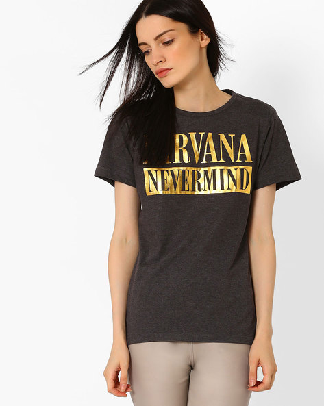 Nirvana Print Crew-Neck T-shirt By Free Authority ( Grey )