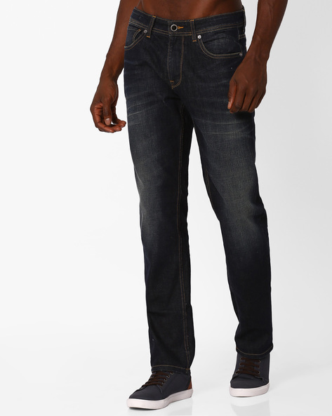 Lightly Washed Slim Fit Jeans By VOI JEANS ( Darkblue )