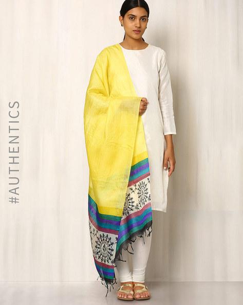 Handwoven Pure Kosa Silk Warli Print Dupatta By Indie Picks ( Yellow )