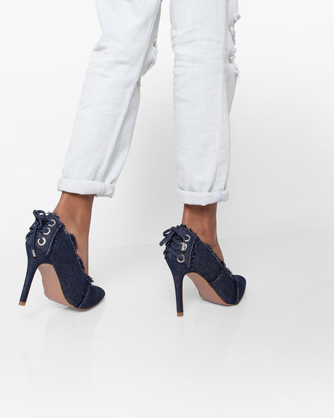 Pointed-Toe Pumps With Frayed Hems By AJIO ( Darkblue )