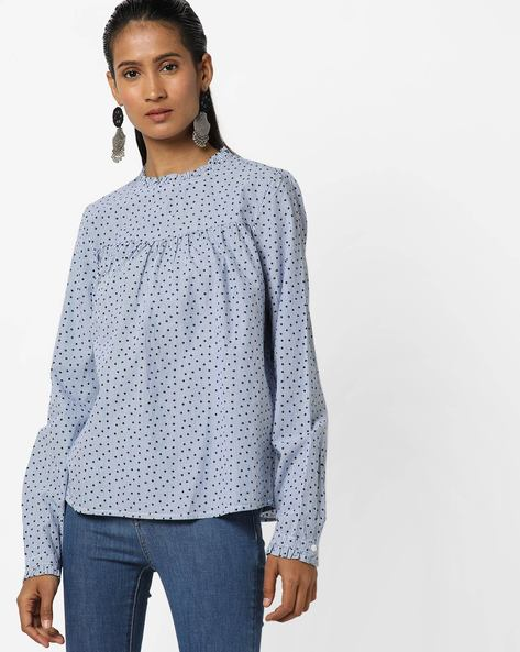 Star Print Blouse Top With Ruffled Neck By Only ( White )