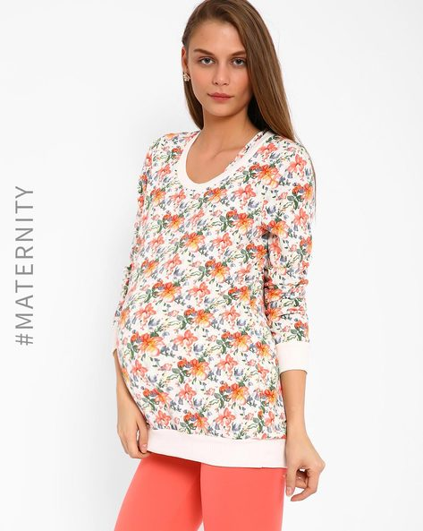 Floral Print Maternity Sweater By AJIO ( Offwhite )