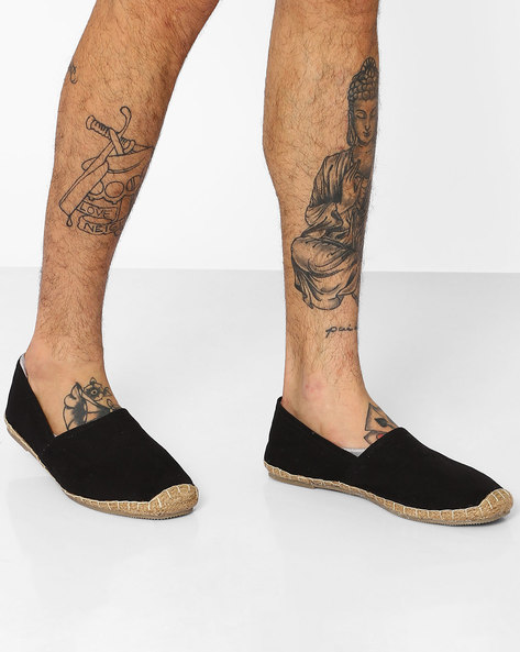 Slip-On Canvas Espadrilles By FAMOZI ( Clearblack )