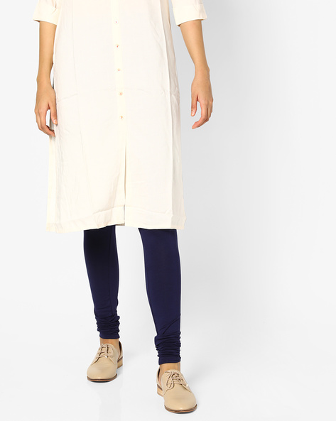Churidar Leggings With Elasticated Waistband By PE IW Casual ( Navy )