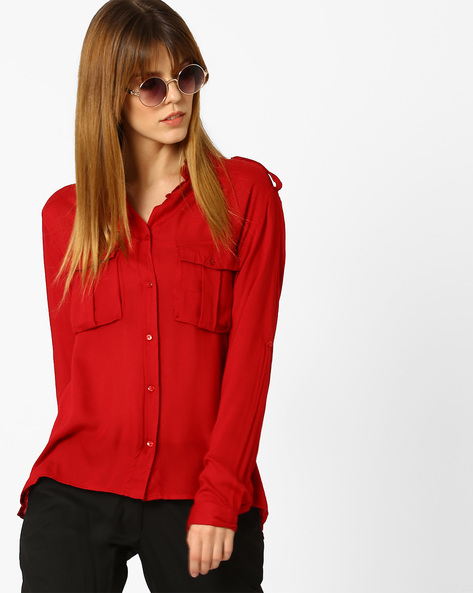 Shirt With Flap Pockets By CHM ( Red )