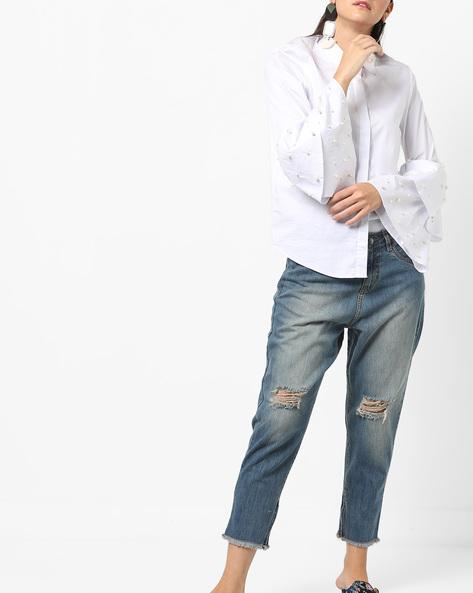 Distressed Jeans With Frayed Hems By AJIO ( Darkblue )