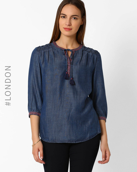 Embroidered Tunic By Marks & Spencer ( Lightblue )