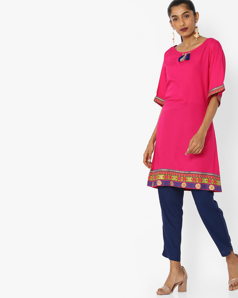 Straight Kurta With Tassels By Indian Ink ( Pink )