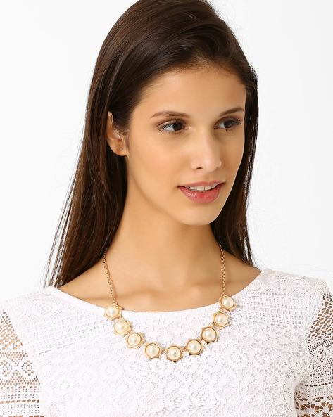 Opera Pearl Necklace By Style Fiesta ( Multi )