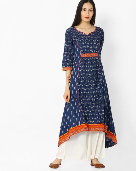 Printed Kurta With Asymmetric Hemline By OVI ( Indigo )