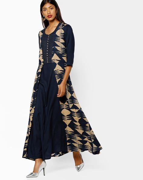 Printed Maxi Dress By Shree ( Navyblue )