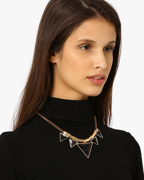 Statement Necklace With Triangular Pendants By Style Fiesta ( Multi )