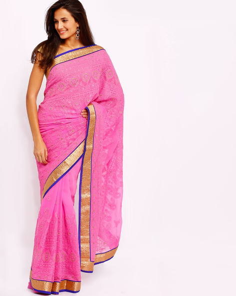 Embroidered Georgette Saree With Sequins By Diva Fashion ( Pink )
