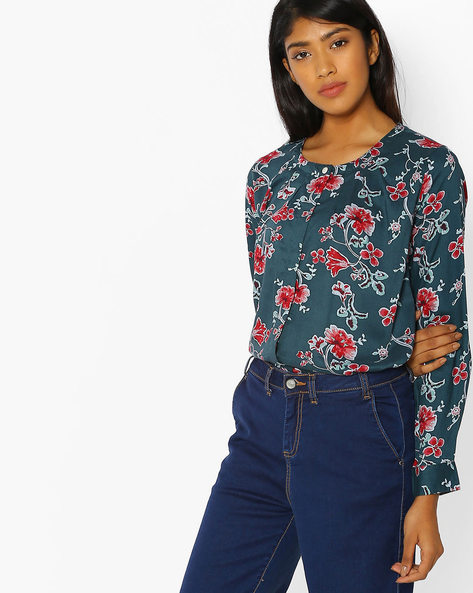 Floral Print Top With Concealed Button Placket By FIG ( Dkgreen )