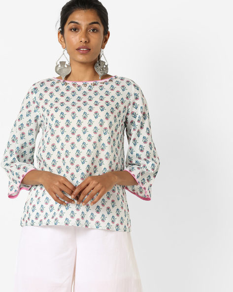 Block Print Tunic With Flared Sleeves By AJIO ( Offwhite )