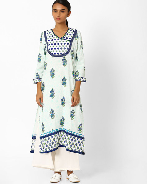 Floral Print Straight Kurta By Jiyaa ( Blue )