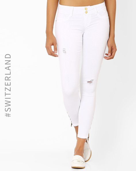 Distressed Skinny Fit Jeans By TALLY WEiJL ( White )