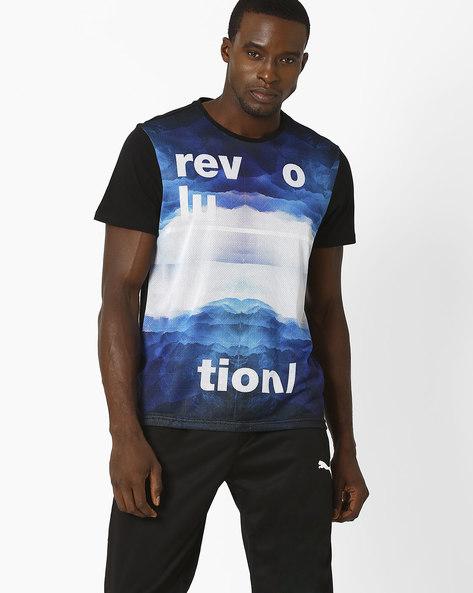 Ocean Print Mesh T-shirt By AJIO ( Black )