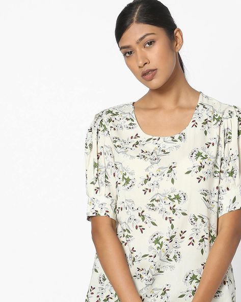 Floral Print Top With Pleated Sleeves By FIG ( White )